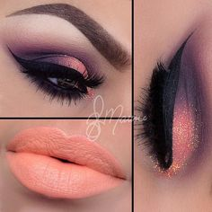 "Great Combo |  --- Metallic eyes by elymarino using MATTEnificent Palette & 35n matte palette Glitter ""Tangerine Twist""."