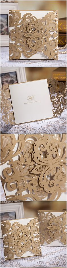 Gold Metallic Vintage Laser Cut Wedding Invitations #weddingideas