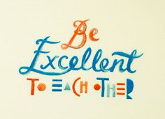 """Be Excellent To Each Other"" by Maricor/Maricar. ""A private commission of a very fun and awesome family motto. Quote taken from Bill & Ted's Excellent Adventure.  Hand sewn using cotton thread on cotton fabric  Mounted artwork approx 297mm x 210mm"""