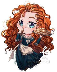 Let's go for a serie of illustration, Disney chibi Maid ! First is Merida, next one will come soon (I hope) Disney chibi Maid - Merida Cute Disney, Baby Disney, Disney Drawings, Cartoon Drawings, Disney Princess Characters, Princess Tiana, Disney Princesses, Twisted Disney, Princesa Disney