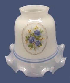 """White Glass Blue Floral Bell Light Shade. Has a 2 1/4"""" fitter and is made for Ceiling Fan, Chandelier, and Wall Sconce Fictures."""