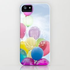 hello there life iPhone & iPod Case by Sylvia Cook Photography - $35.00 #balloons #inspirational #typography #quote #phonecase #pastel #sky