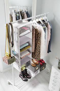 US - Furniture and Home Furnishings Folded shirts and sweaters take up space and can be hard to access in dresser drawers. For extra, easy-access storage for folded clothes, hang storage pockets, like SVIRA, from a clothing rack or closet pole. Hanging Clothes Racks, Diy Clothes Storage, Ikea Storage, Hanging Storage, Hanging Closet, Extra Storage, Ikea Clothing Storage, Ikea Clothes Rack, Clothes Storage Ideas For Small Spaces