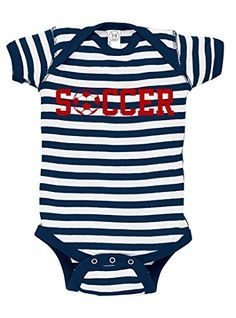 Patriotic Soccer Baby Bodysuit 03 monthsnewborn Navy and White Stripe * Check out this great product.Note:It is affiliate link to Amazon.