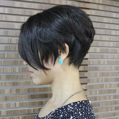 short brunette layered bob