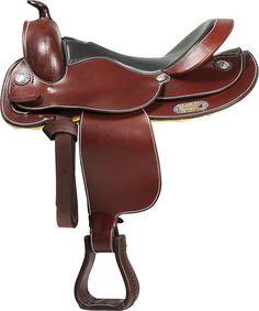 Silla Western Colorado Springs 'Dallas'. Silla Western Fabricada en cuero Liso de búfalo. Con costuras en contraste. Color: Marrón Tallas: 15'' - 16''