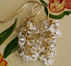 Dangle Earrings drop earrings Cluster earrings  by chashway, $48.00