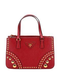 Prada red saffiano leather studded top handle bag | BLUEFLY up to 70% off designer brands