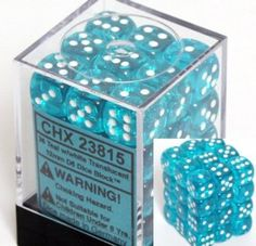Amazon.com: Chessex Dice d6 Sets: Teal with White Translucent - 12mm Six Sided Die (36) Block of Dice: Toys & Games (Pime)