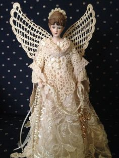 Vintage+Antique+Lace+and+Crocheted+Angel+by+AngelsandTreasures