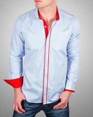 MEN'S FRENCH SHIRTS - ALEXIS BLUE STRIPES  Now only at $69.