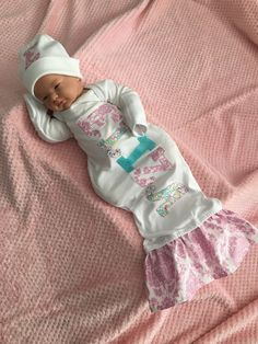Homecoming Personalized Monogrammed Sleeper Mermaid Tail Baby Girl Infant Newborn Camo Real tree or Mossy Oak Layette