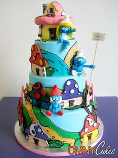 Smurfs Village Cake