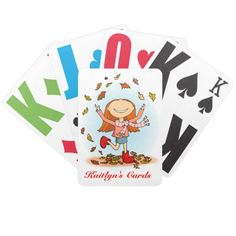 Fun personalized girls named playing cards. Art and design by www.sarahtrett.com
