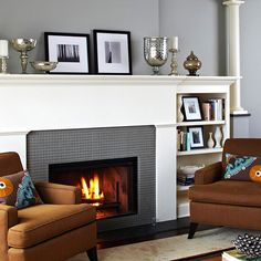 I like continuance of shelving from fp.  Tile Style  Color-coordinate your fireplace with the rest of a room by using tile. Here, the single color of tile frames the fireplace and helps it stand out, but the color also ties to the wall and gives a feeling of unity throughout the room.