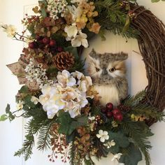 Christmas Wreath-Winter Wreath-Owl Wreath-Christmas Owl Wreath-Rustic Wreath-Evergreen Wreath Natural looking pine boughs and garden ivy create a Owl Wreaths, Wreath Crafts, Diy Wreath, Holiday Wreaths, Grapevine Wreath, Wreath Ideas, Snowflake Wreath, Winter Wreaths, Christmas Owls