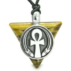 Amulet Ankh Egyptian Powers of Life Pyramid Energies Tiger Eye Trinity Protectio