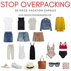 Minimalist Travel Wardrobe: What To Pack - The Haute Homemaker 30 Outfits, Mode Outfits, Capsule Outfits, Holiday Outfits, Beach Vacation Packing, Beach Travel Outfit, Travel Wardrobe Summer, Beach Vacation Wardrobe, Clothes For Beach Vacation