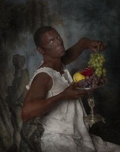 """Plantage fruite""   Self portrait by danish designer Jim Lyngvild.  For the photobook ""Megalomania""   Taken with Hasselblad."