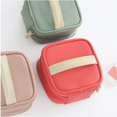 Mini Daily Cosmetic Pouch - light pink, mint green, coral synthetic leather - $29.95