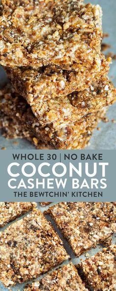 These Coconut Cashew Bars are a new snack favorite. I made these with my Vitamix and they were so easy! Dates, coconut, and cashews blended together make a Larabar copycat recipe that's paleo (Whole 30 Recipes Snacks) Paleo Recipes, Gourmet Recipes, Whole Food Recipes, Cooking Recipes, Cheap Recipes, Chickpea Recipes, Cooking Bacon, Lentil Recipes, Honey Recipes