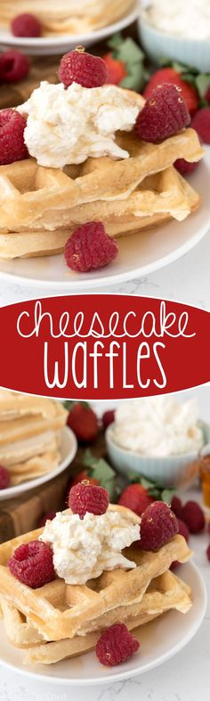 Cheesecake Waffles - this easy breakfast recipe pairs fluffy waffles with no bake cheesecake!