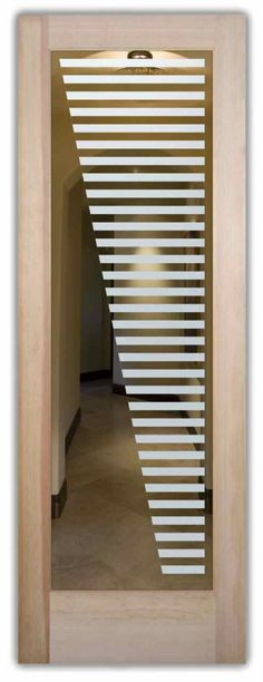 Sleek Bands - Glass Door Decorative Etched Glass by Sans Soucie Art Glass.