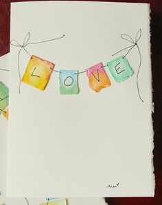Love Love Love Big Card 5x7 Watercolor Original por betrueoriginals, $4.00