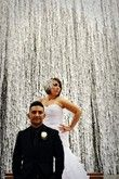 Cosmopolitan casino waterfall. Trash the Dress. Las Vegas and southern Nevada wedding, engagement and trash the dress photography - Brilliant Imagery.