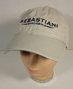 Sebastiani Vineyards & Winery Broken In Khaki Tan Baseball Cap Hat Adult Size #Unbranded #BaseballCap