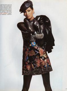 "Vogue Italia September 1991 ""Chic Rider"" Models: Yasmeen Ghauri & Linda Evangelista Photographer: Patrick Demarchelier Stylist: Carlyne Cerf de Dudzeele Hair: Oribe Makeup: Mary Greenwell"