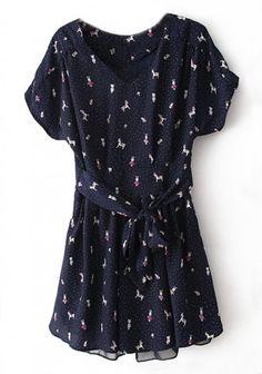 Blue Little Pony Polka Dot Pearl  Dress
