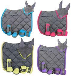 Ensemble BR avec tapis guêtres et proteges-boulets , bandes de polo .Existe en vert anis , violet ,rose framboise ,bleu azur .