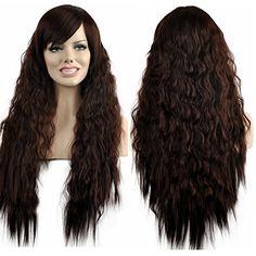 Diy-Wig Sexy Shaggy Long Curly Wavy Synthetic Wig With Ba…