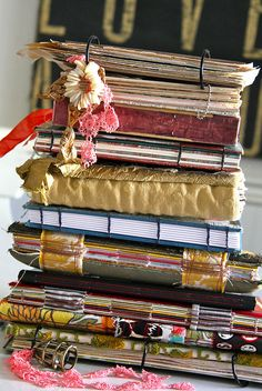 this is yummy Teresa! A stack of my art journals by TMcFayden, via Flickr
