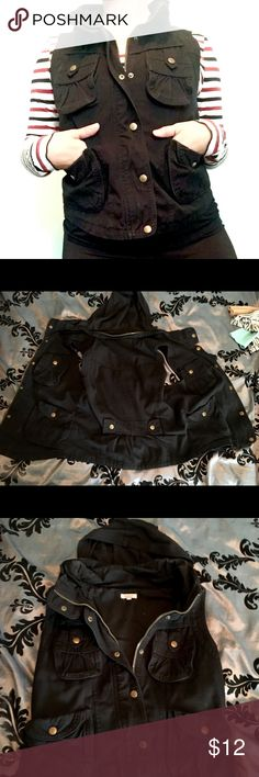 Black Nordstrom vest Medium super cute black vest, with pockets and a hood! Nordstrom Jackets & Coats Vests