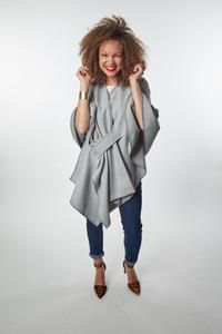 what to wear to look fabulous and stay cozy on a zoom call! Fashion Line, Fashion Show, Fashion Trends, Fair Trade Fashion, Wrap Shirt, Black Stilettos, Piece Of Clothing, Ethical Fashion, Distressed Jeans