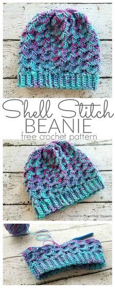 Shell Stitch Beanie Crochet Pattern - Hooked on Homemade Happiness #HatsForWomenCrochet