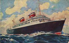 USS AMERICA postcard circa 1948