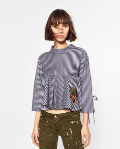 STRIPED AND EMBROIDERED SHIRT-TOPS-TRF | ZARA Vietnam