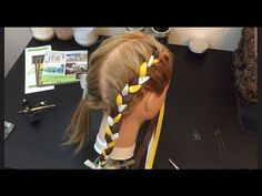 Two french braids with ribbon, How to, cute girl hair style, (Video 3) - YouTube