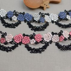 Sell By Yard 3.5CM Wide High Quality Lace Necklace Supplies, Rose Pink/Blue Flower Wave Black Venice Lace Trim