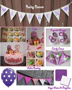 Barney Theme - Cute Ideas | Burlap Banner by ExpressionsInDesign .
