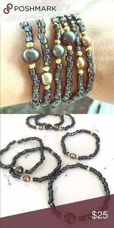 """S.Sea Jewelry Maui """"Phoenix"""" stretch bracelet Handmade and one-of-a-kind made with Japanese seed beads, pyrite and pearl. Perfect addition to your summer bracelet stack, or on its own! Listing is for ONE bracelet. S Sea Jewelry Maui Jewelry Bracelets"""