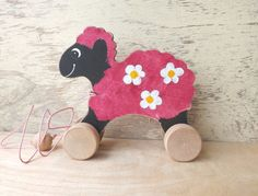 Wooden pulling toy Sheep in pink handmade hand-painted animal