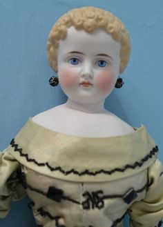bisque china dolls | Graceful German China Bisque Head Doll with Molded Hair Ringlets ...