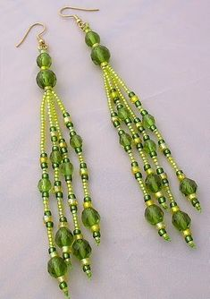 Seed Bead Fringe Earrings - Uses 3 sizes of Crystal Rounds (4,6,8 mm) and 3 sizes seed beads ( 11/0, 8/0 and 6/0). Could make any length or color combo. Fun!