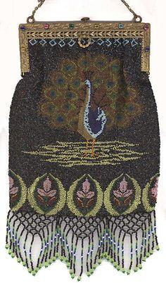 Figural Peacock Beaded Purse with DOUBLE Jeweled Frame & Spectacular Lattice Fringe