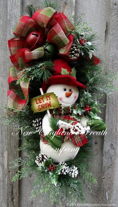 holiday wreaths Christmas Wreath Holiday Wreath Christmas Swag by NewEnglandWreath Christmas Mesh Wreaths, Christmas Swags, Christmas Door, Christmas Holidays, Winter Wreaths, Christmas Projects, Holiday Crafts, Holiday Decor, Snowman Wreath