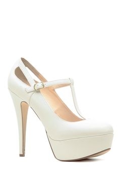 White Faux Leather T Strap Mary Jane Platform Heels @ Cicihot Heel Shoes online store sales:Stiletto Heel Shoes,High Heel Pumps,Womens High Heel Shoes,Prom Shoes,Summer Shoes,Spring Shoes,Spool Heel,Womens Dress Shoes